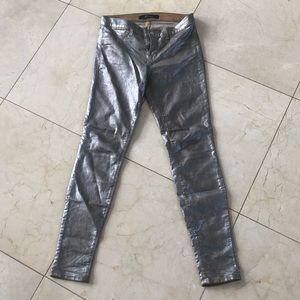 J BRAND Metallic Silver Shiny Skinny Jeans Sz 27